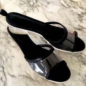 Black Transparent & Acrylic Sandals